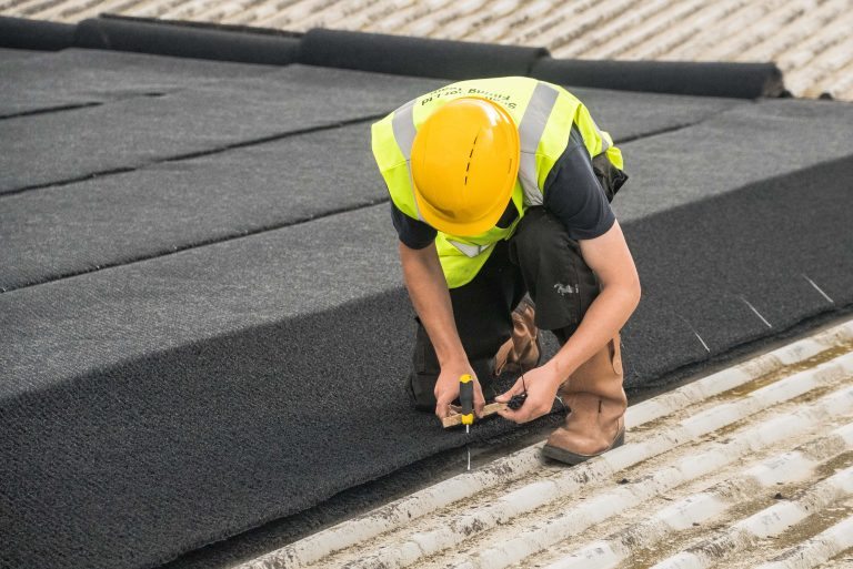 'Stitching' lengths of Silent Roof Matting Material