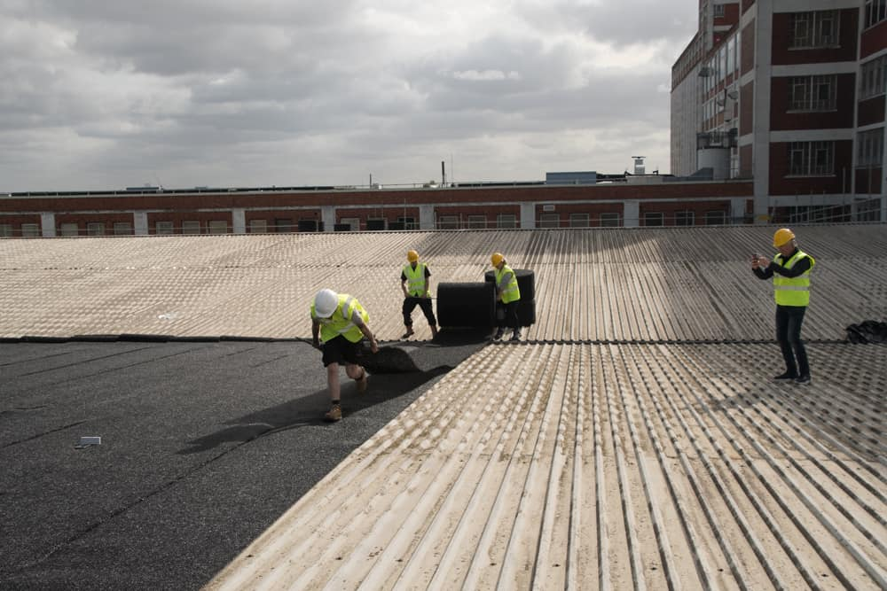 The Monster Roof installation of Silent Roof Matting Material